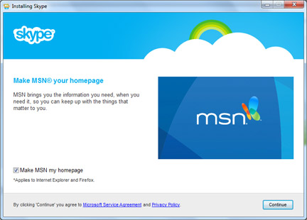 MSN as homepage