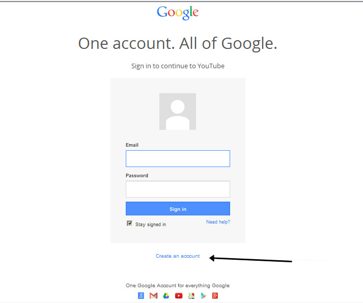 youtube create account sign in