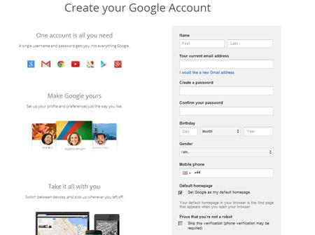 new account youtube google