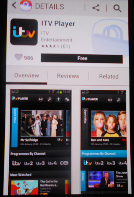 Finding ITV Player app on Google Play