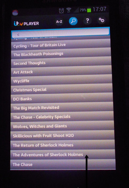 Search results of programmes on the ITV Player app for Android phones