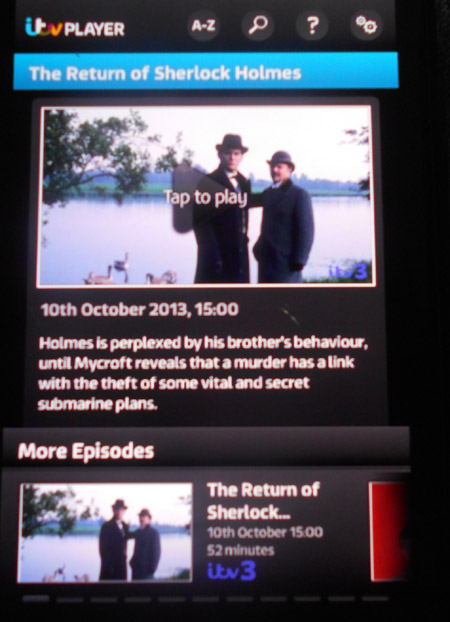 Example of programme information on the ITV Player app for Android phones
