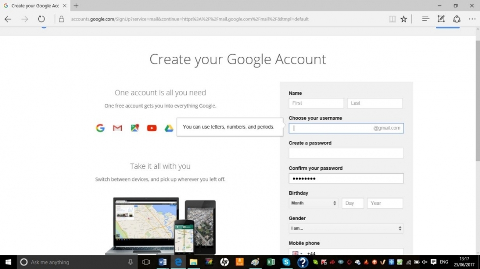 create google account on iphone