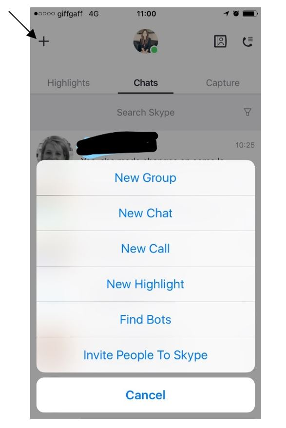 click on the plus sign to start a new chat