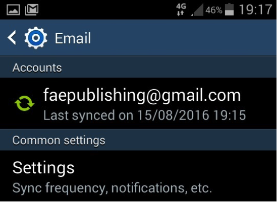 Email settings screenshot Android