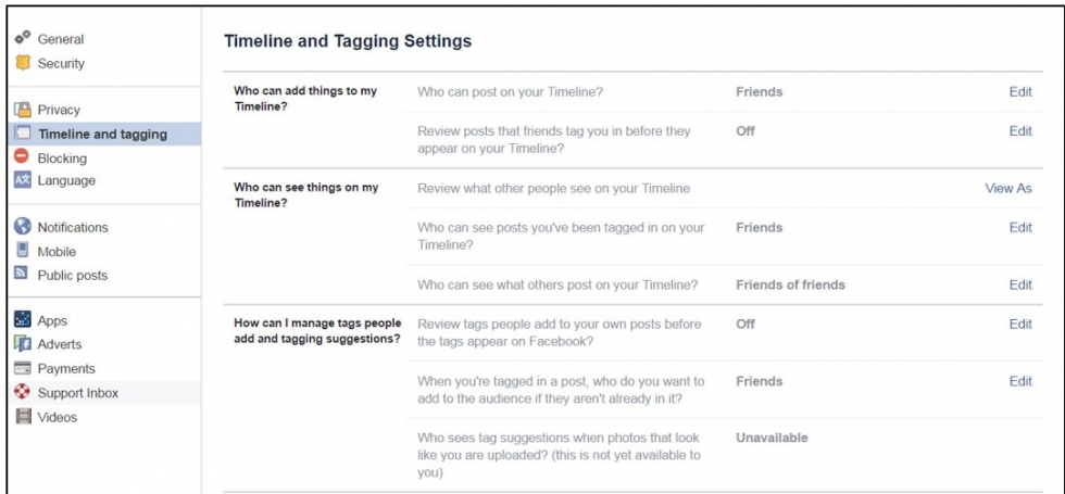 timeline and tagging settings