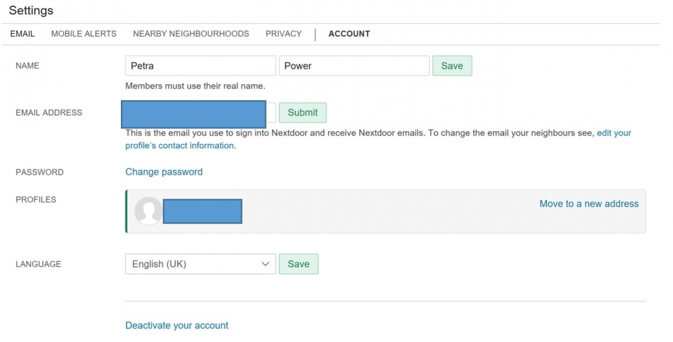 You can change your email address, password and other details in settings