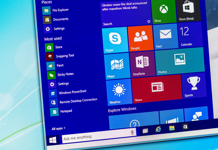 Windows 10 Start menu screen shot