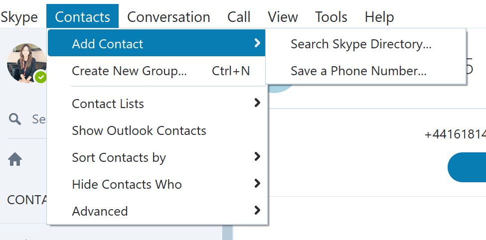 add a contact onto skype by clicking contacts