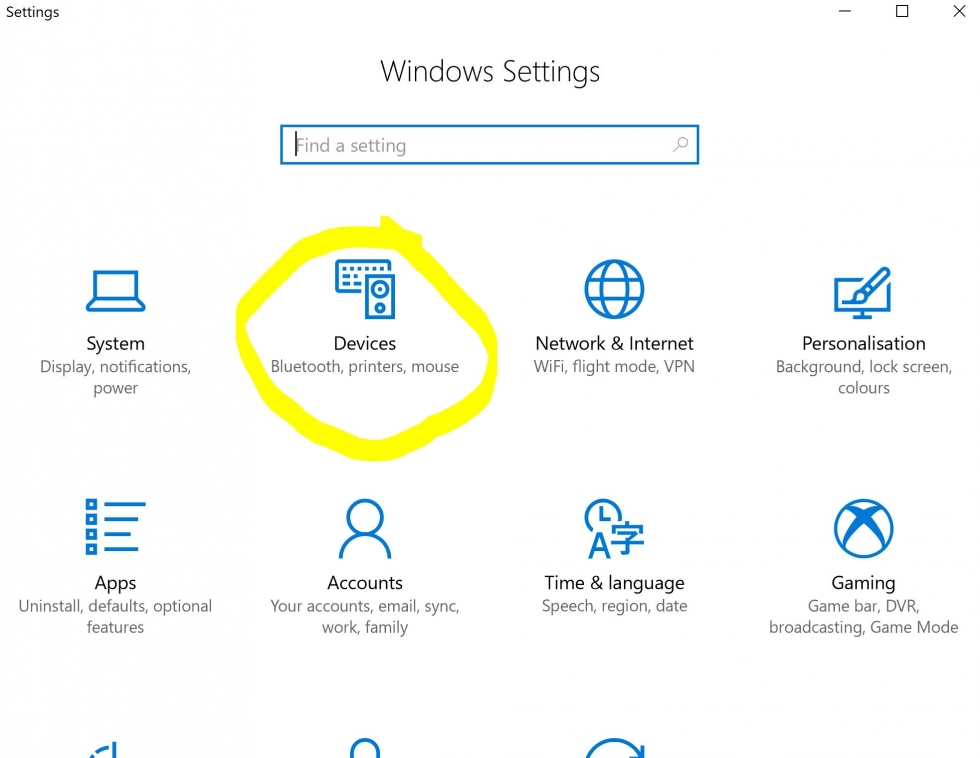 picture of the settings area in windows 10