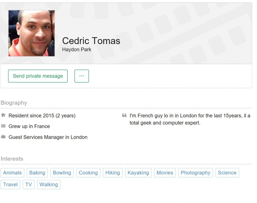 Lets send a message to Cedric for example, click on send private message