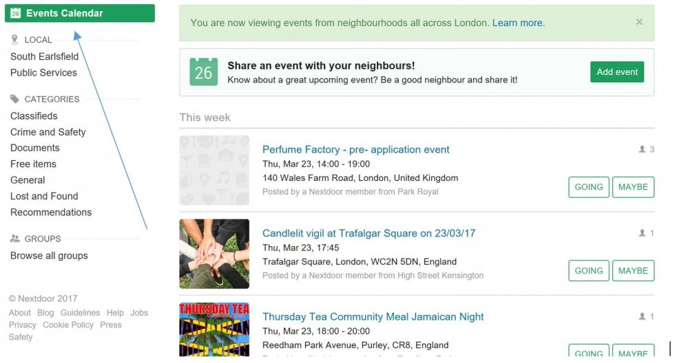 Click on events to see all the events in your area