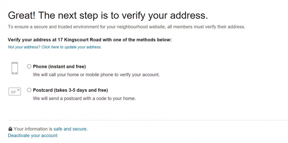 Verify your address by using phone or postcard