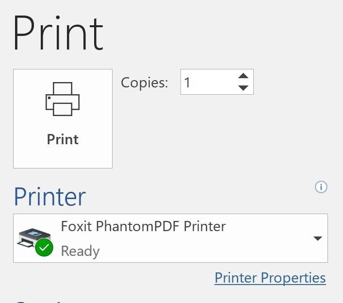 Printing on office 365
