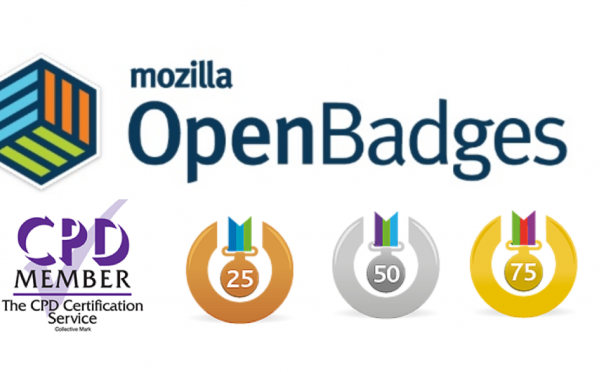 Mozilla Open badges, logo and CPD logo