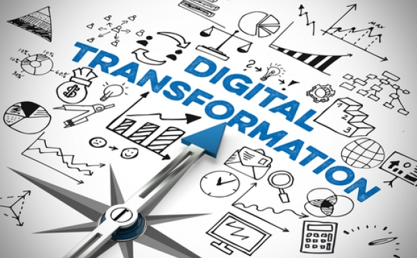 words 'digital transformation' displayed in an infographic