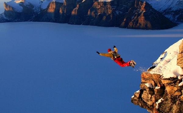 Someone jumping from a cliff to depict people's new bravery when learning digital skills
