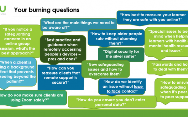 Burning questions at one of our remote digital skills support webinars